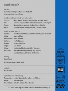J.S. Bach-Stiftung Aus tiefer Not schrei ich zu dir